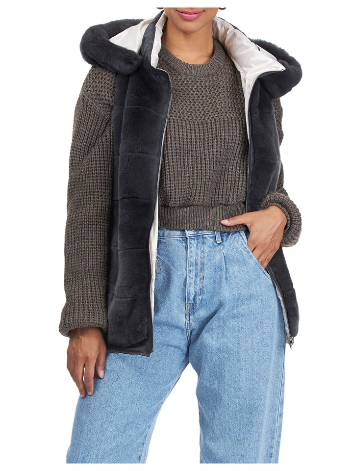 Gorski Woman's Charcoal Rex Rabbit Fur Vest Reversible