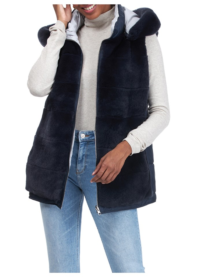 Gorski Woman's Dark Blue Rex Rabbit Fur Vest Reversible