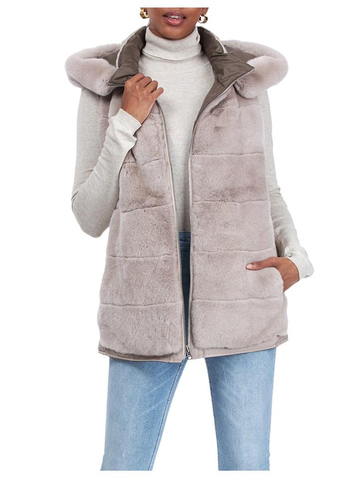 Gorski Woman's Beige Rex Rabbit Fur Vest Reversible