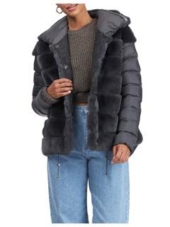 Gorski Woman's Charcoal Rex Rabbit Fur Stroller