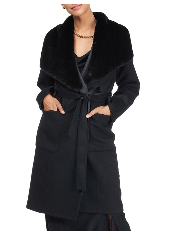 Gorski Woman's Black Loro Piana Wool/Cashmere Coat with Mink Fur Shawl Collar