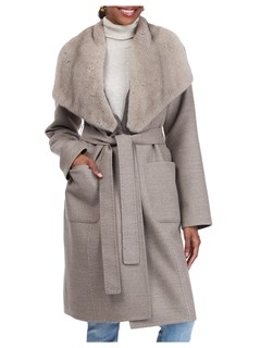 Gorski Woman's Silver Blue Loro Piana Wool/Cashmere Coat with Mink Fur Shawl Collar