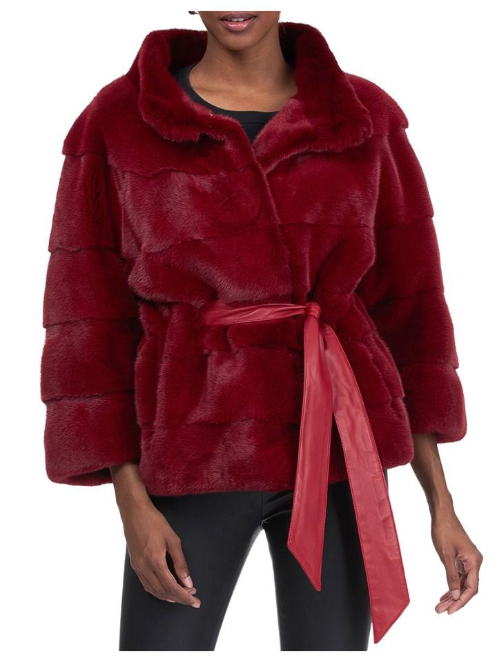 Gorski Woman's Red Mink Fur Jacket