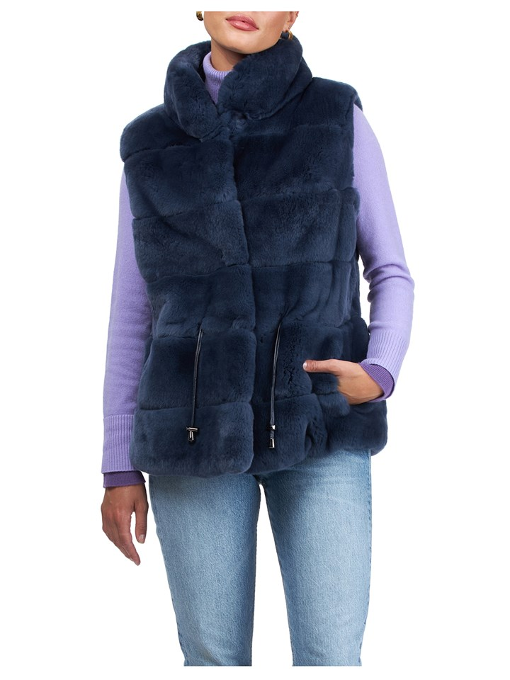Gorski Woman's Navy Rex Rabbit Fur Vest