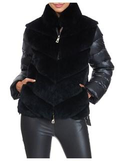 Gorski Woman's Black Rex Rabbit Fur Jacket