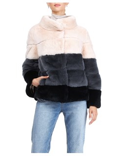Gorski Woman's Blush Rex Rabbit Fur Jacket Reversible to Channel-Quilted Tech Taffeta