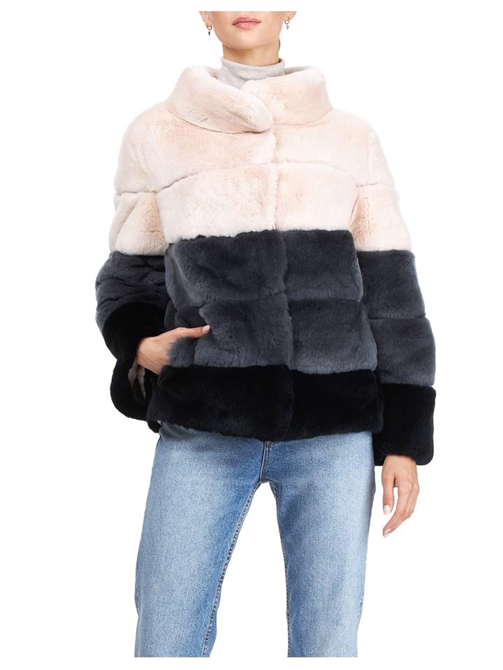 Gorski Woman's Blush Rex Rabbit Fur Jacket Reversible to Channel-Quilted Tech Taffeta