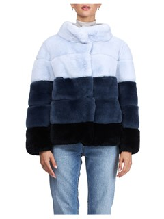 Gorski Woman's Blue Rex Rabbit Fur Jacket Reversible to Channel-Quilted Tech Taffeta