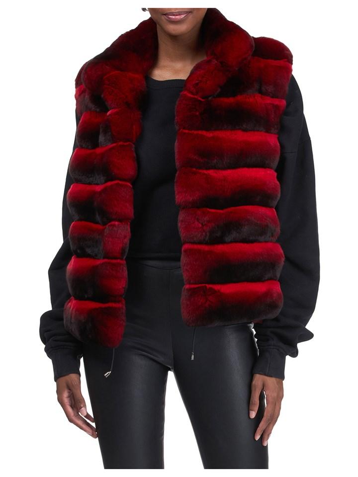 Gorski Woman's Red Chinchilla Fur Vest