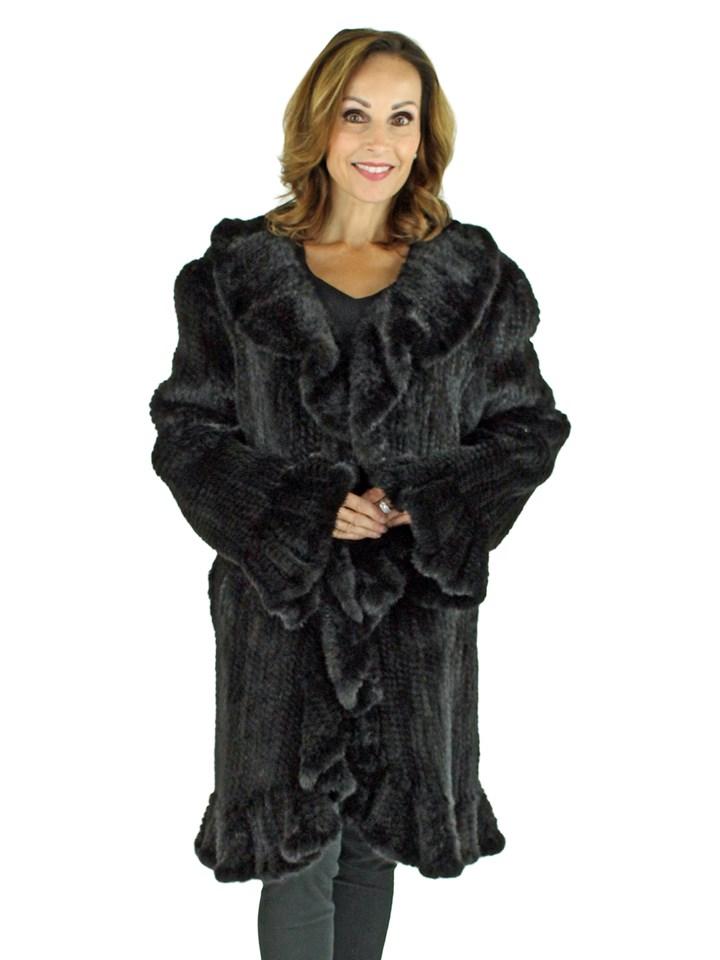 Woman's Black Knitted Mink Fur Stroller
