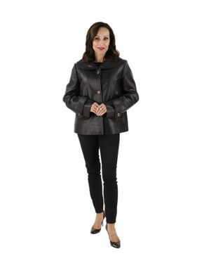 Woman's Chocolate Brown Leather Jacket with Removable Quilted Thermal Lining