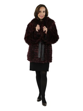 Gorski Woman's Dark Raspberry Feathered Fox Fur Parka