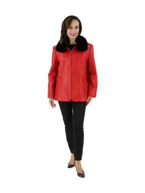 Red Leather Jacket with Black Fox Collar
