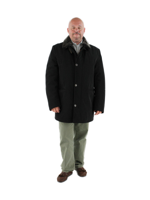 Bar to Sidelines Black Water Repellant Coat (Shearling Collar)
