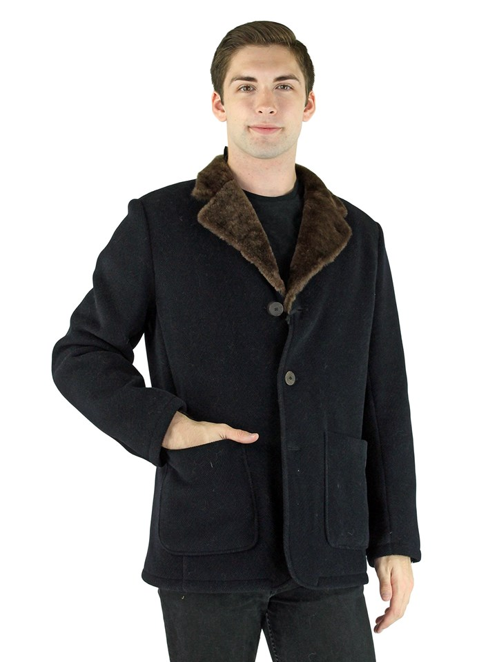Man's Navy Textured Fabric and Shearling Jacket