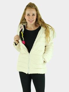 Woman's Beige Quilted Down Fabric Jacket with Zip-out Multicolored Mink Liner