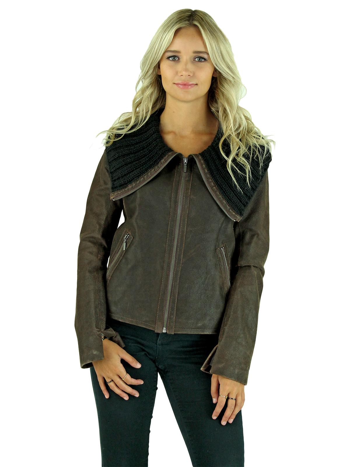 Woman's Petite Dark Chocolate Brown Leather Jacket
