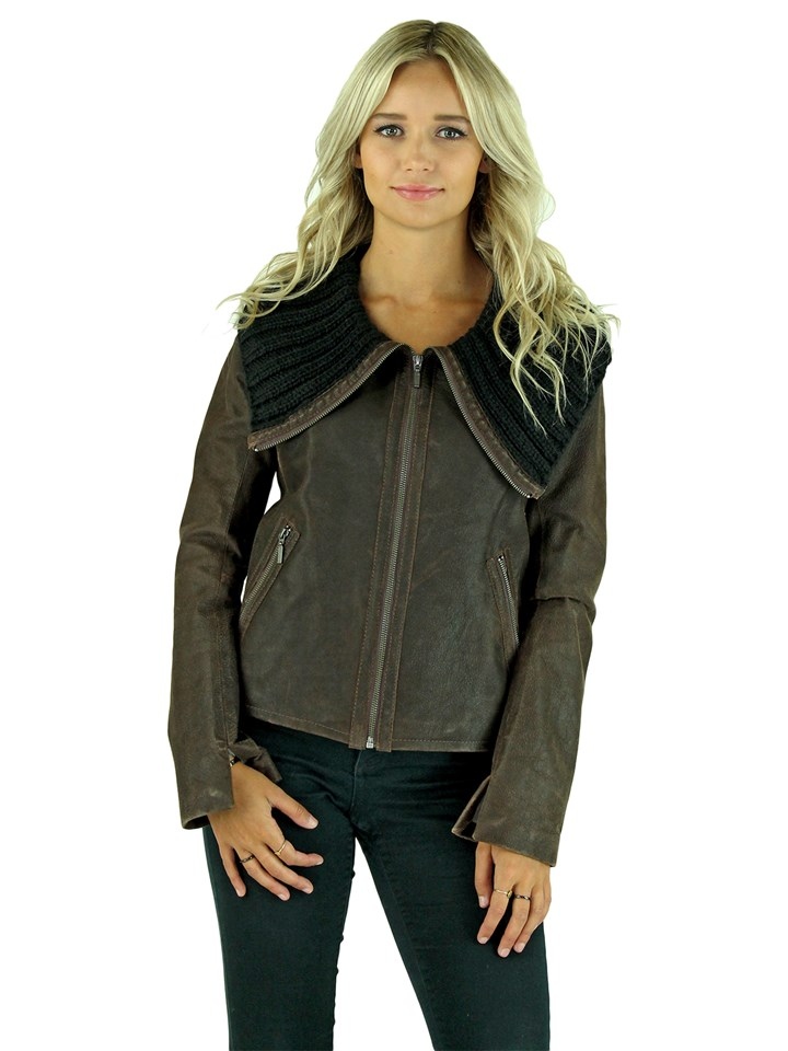 Woman's Petite Dark Chocolate Brown Leather Jacket