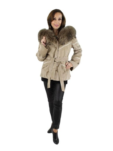 Woman's Taupe Rabbit Shearling Parka with Finnish Raccoon Fur
