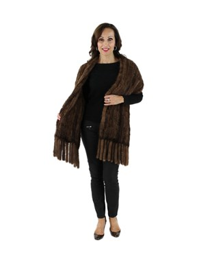 Gorski Woman's Scanbrown Mink Knit Fur Shawl