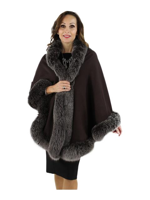 Gorgeous Chocolate Brown Cashmere Wrap (Snowtop Fox Trim)