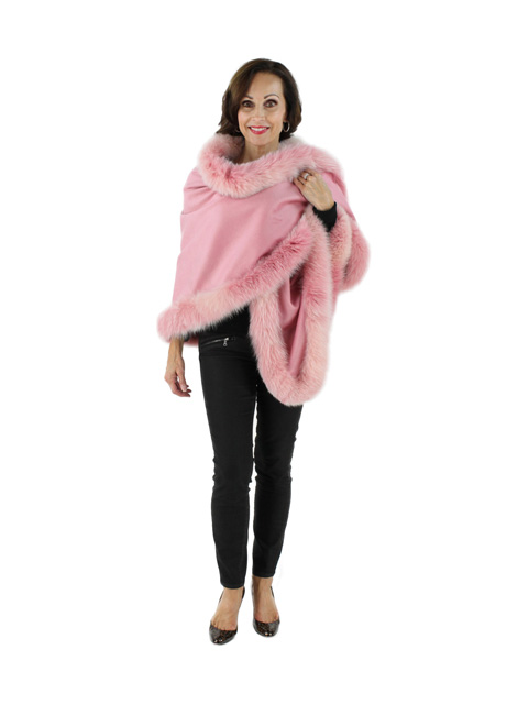 Wear with Everything Pastel Pink Cashmere Wrap with Fox Fur Trim