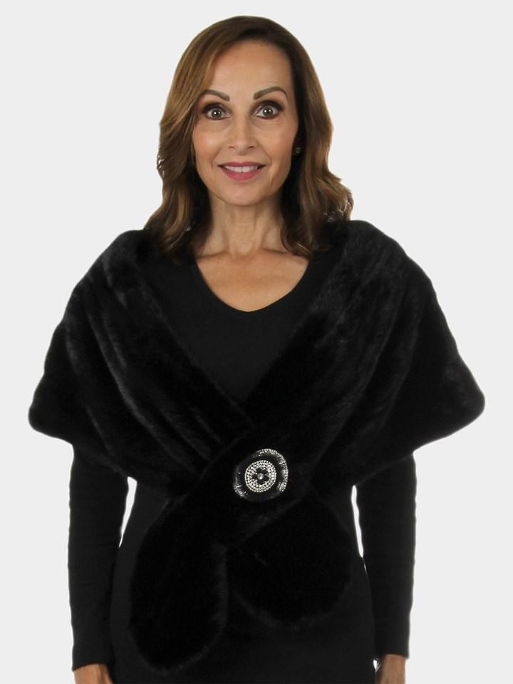 Woman's New Carolyn Rowan Black Short Nap Mink Fur Stole Wrap