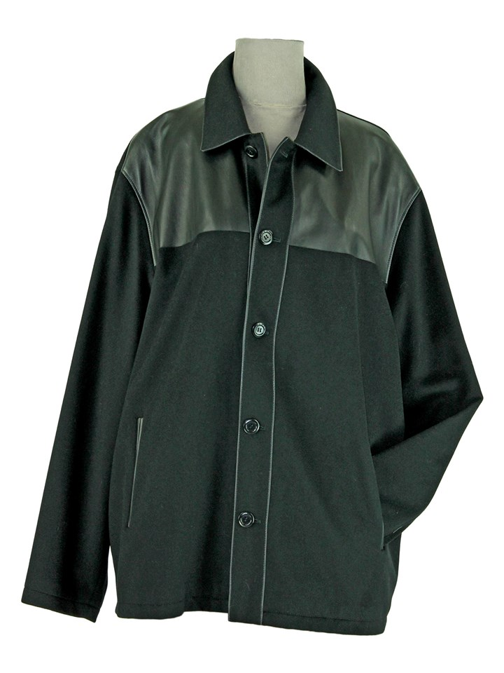 Man's Black Cashmere Jacket with Black Leather Trim