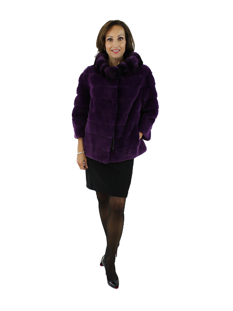 Woman's Gorski Violet Sheared Mink Fur Bolero with Dyed to Match Chinchilla Collar