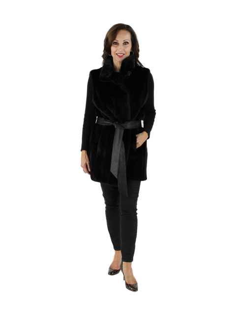 Beautiful Black Belted Mink Vest
