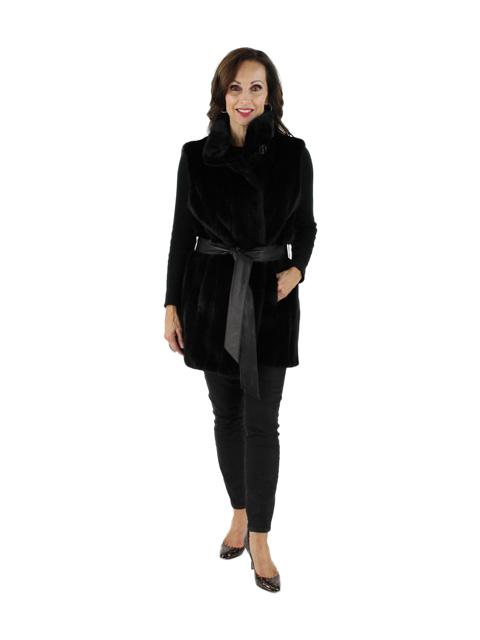 Gorski Woman's Beautiful Black Short Nap Mink Fur Vest