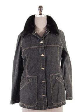 Sporty Black Denim Jacket (Zip Out Mink Vest Liner and Collar)