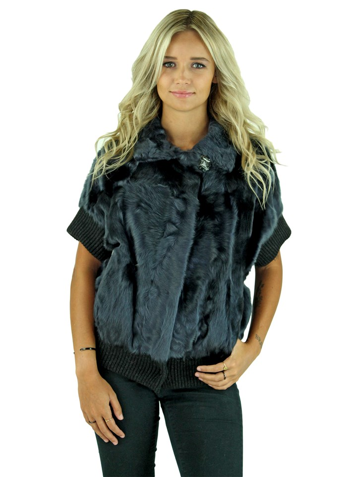 Gorski Woman's Navy Lamb Fur Jacket