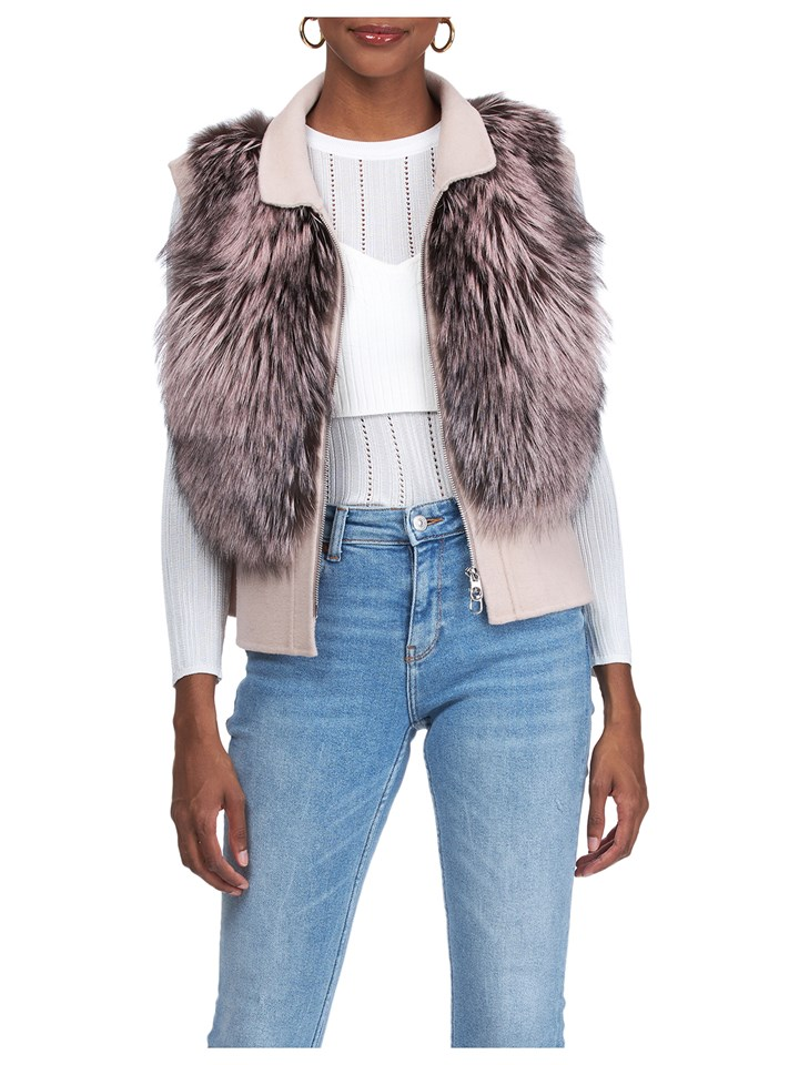 Gorski Woman's  Pink Silver Fox Fur Vest with Wool Peplum