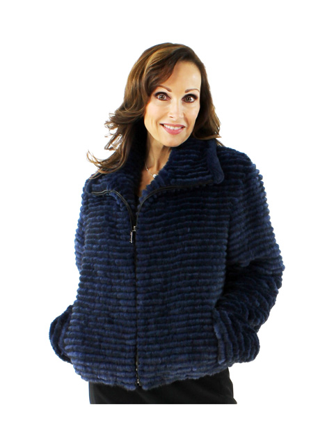 Jeans to LBD Something Different Beautiful Navy Mink Jacket