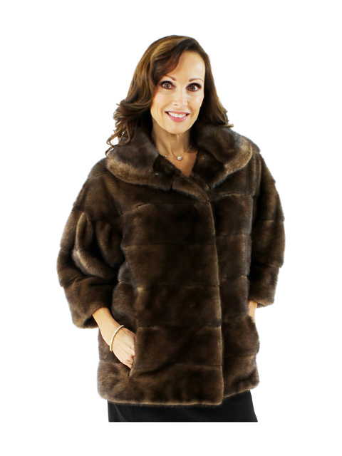 Beautiful Breakfast at You Know Where Petite Scanbrown Mink Jacket