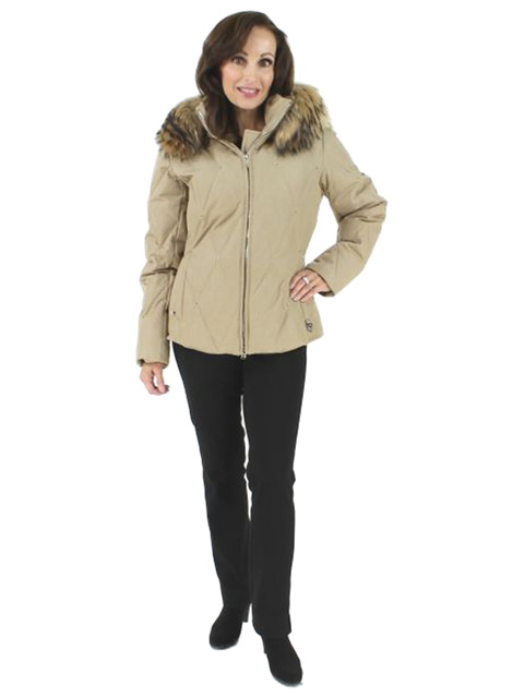 Sparkling Like New Fallen Snow Quilted Camel Ski Parka with Finn Raccoon Trim
