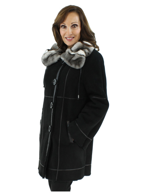 Elegant and Unusual Black Shearling Coat with an Orelag Portrait Collar