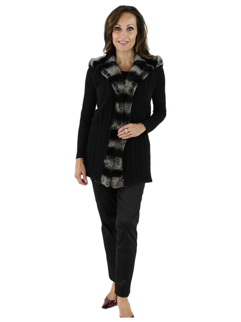 Great Style and Warmth Combined Black Knit Cashmere and Rex Vest