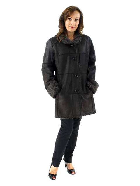 Stylish and Warm Snow Top Trimmed Dark Chocolate Brown Shearling Jacket