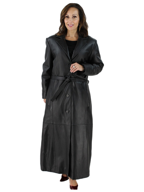 Perfect for Chicago Wind and Weather Full Length Belted Black Leather Coat
