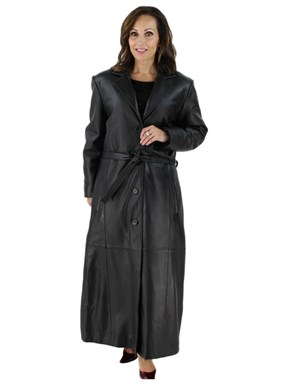 Woman's Full Length Belted Black Leather Coat