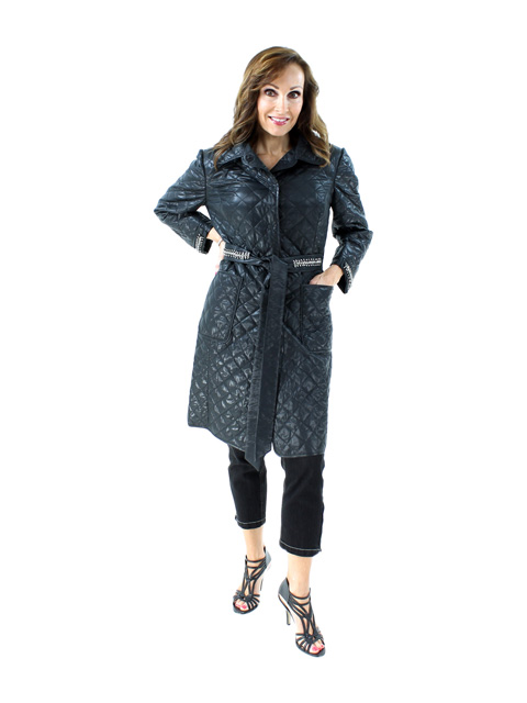 Spring Fall Slenderizing Wind Resistant Black Quilted Lightweight Coat