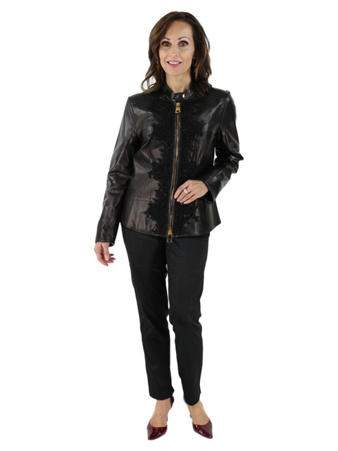Woman's Euro Style Black Leather Jacket
