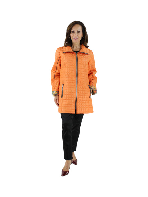 Stand Out in a Crowd Slenderizing Bright Spicy Orange Quilted Lightweight Jacket