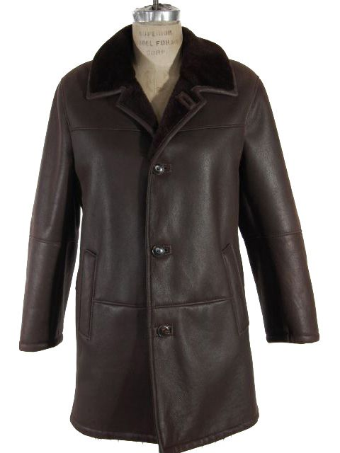 Dark Brown Shearling Jacket with Deeper Brown Ironed Fleece