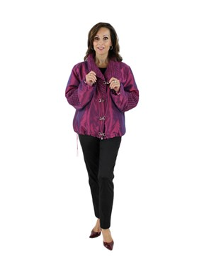 Woman's Raspberry Fabric Jacket