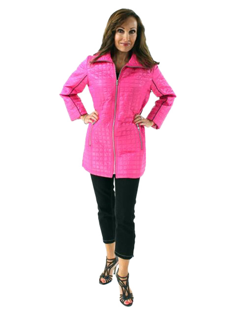 Oh so Feminine Spring Fall Slenderizing Bright Pink Quilted Lightweight Jacket
