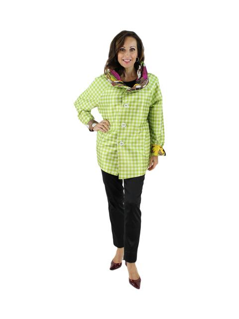 Fun Fun Fun Floral and Gingham Reversible Chartreuse Multi Color Raincoat