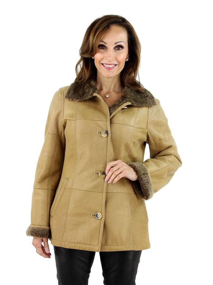 Woman's Beige Shearling Lamb Jacket